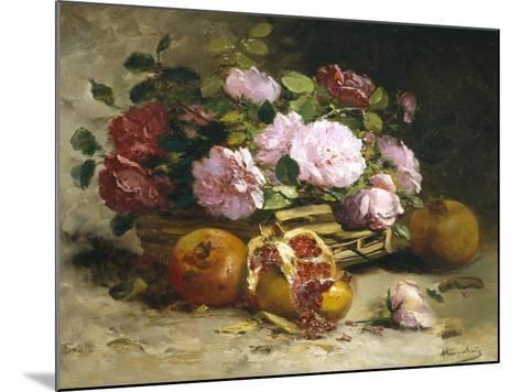Still Life of Roses and Pomegranates-Eugene Henri Cauchois-Mounted Giclee Print