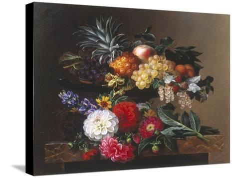 Dahlias, Lupin and Coreopsis in a Greek Kylix-Johan Laurentz Jensen-Stretched Canvas Print