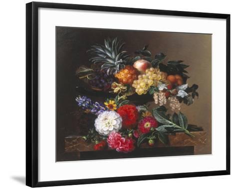 Dahlias, Lupin and Coreopsis in a Greek Kylix-Johan Laurentz Jensen-Framed Art Print