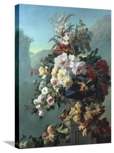 Still Life of Flowers on a Terrace-Pierre Bourgogne-Stretched Canvas Print