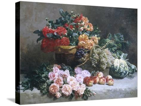 Rich Still Life of Fruit and Flowers-Pierre Bourgogne-Stretched Canvas Print
