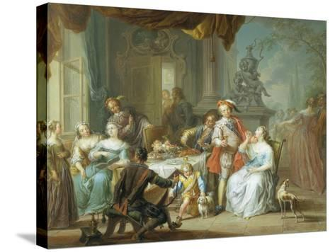 Dining on the Terrace-Frans Christoph Janneck-Stretched Canvas Print
