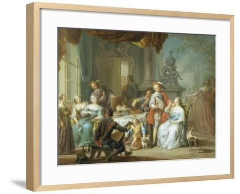 Dining on the Terrace-Frans Christoph Janneck-Framed Art Print