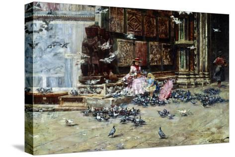 Feeding the Pigeons, St. Mark's Square, Venice-Lieven Herremans-Stretched Canvas Print