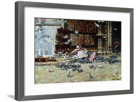 Feeding the Pigeons, St. Mark's Square, Venice-Lieven Herremans-Framed Art Print