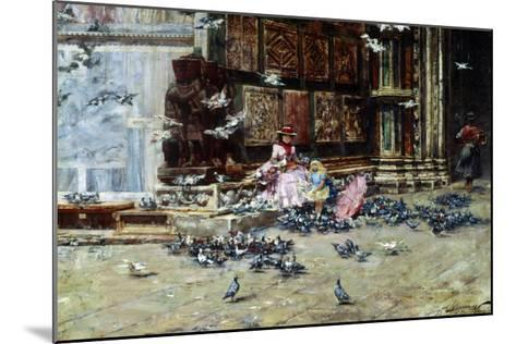 Feeding the Pigeons, St. Mark's Square, Venice-Lieven Herremans-Mounted Giclee Print