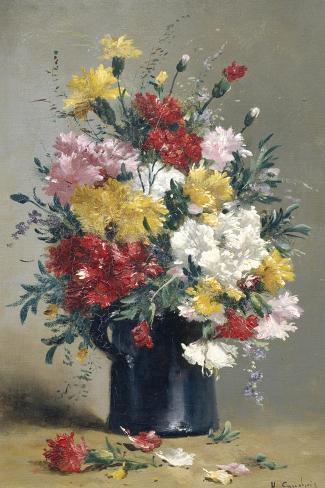 Still Life of Carnations-Eugene Henri Cauchois-Stretched Canvas Print