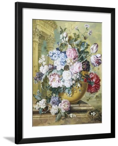 Still Life of Roses, Delphiniums and Tulips-Jacobus Linthorst-Framed Art Print