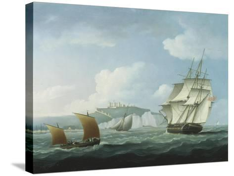 Shipping off Dover Castle-Thomas Buttersworth-Stretched Canvas Print
