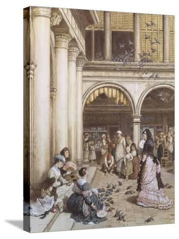 Feeding the Pigeons, Piazza San Marco, Venice-Myles Birket Foster-Stretched Canvas Print