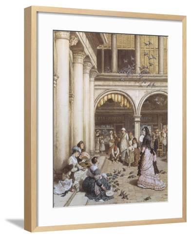 Feeding the Pigeons, Piazza San Marco, Venice-Myles Birket Foster-Framed Art Print