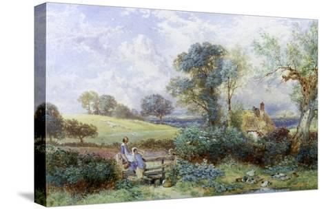 At the Pond-Myles Birket Foster-Stretched Canvas Print