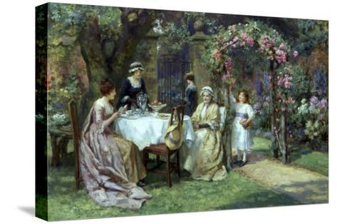 The Tea Party-George S. Knowles-Stretched Canvas Print