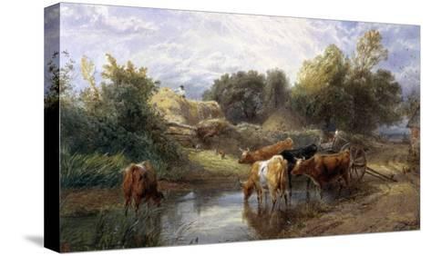 Watering Time-Myles Birket Foster-Stretched Canvas Print