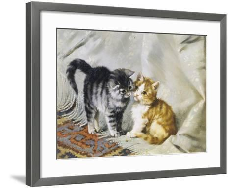 The Introduction: Silver and Ginger Kittens-Julius Adam-Framed Art Print