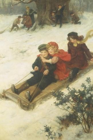 The Sleighride-George S. Knowles-Stretched Canvas Print