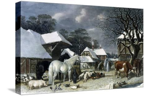 Snowy Farmyard-John Frederick Herring I-Stretched Canvas Print