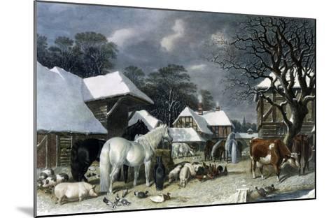 Snowy Farmyard-John Frederick Herring I-Mounted Giclee Print