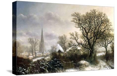 Yardley Church, near Birmingham, in the Snow-Charles Leaver-Stretched Canvas Print