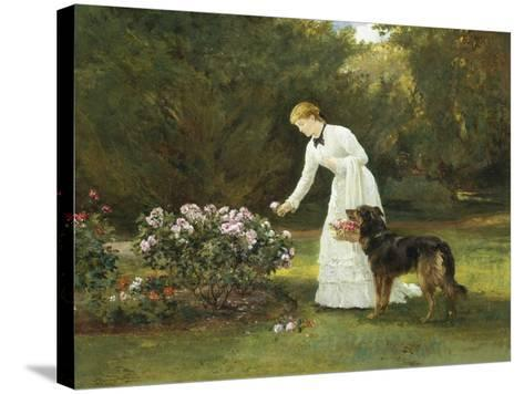 In the Rose Garden-Heywood Hardy-Stretched Canvas Print