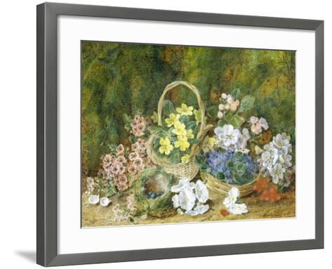 Spring Flowers and a Bird's Nest on a Mossy Bank-George Clare-Framed Art Print