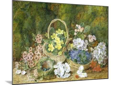 Spring Flowers and a Bird's Nest on a Mossy Bank-George Clare-Mounted Giclee Print
