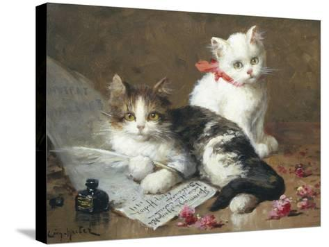 Young Feline Author-Leon Charles Huber-Stretched Canvas Print