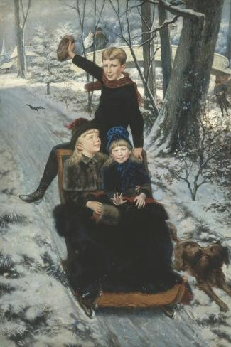 Jolly Sleigh Ride, c.1884-Frans De Wilde-Stretched Canvas Print