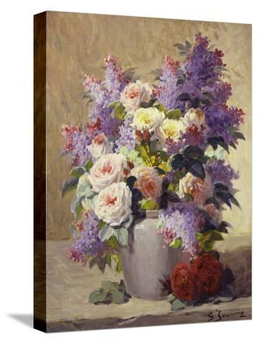 Still Life of Roses and Lilacs-Georges Jeannin-Stretched Canvas Print