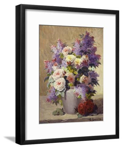 Still Life of Roses and Lilacs-Georges Jeannin-Framed Art Print