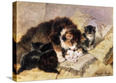 Les Quatre Chatons-Henriette Ronner Knip-Stretched Canvas Print