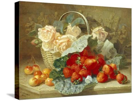 Still Life of Summer Fruit and Peach Roses-Eloise Harriet Stannard-Stretched Canvas Print