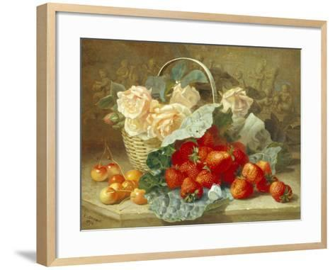 Still Life of Summer Fruit and Peach Roses-Eloise Harriet Stannard-Framed Art Print