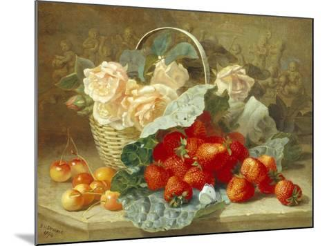 Still Life of Summer Fruit and Peach Roses-Eloise Harriet Stannard-Mounted Giclee Print