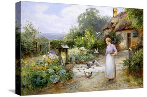 Feeding the Doves-Ernest Walbourn-Stretched Canvas Print