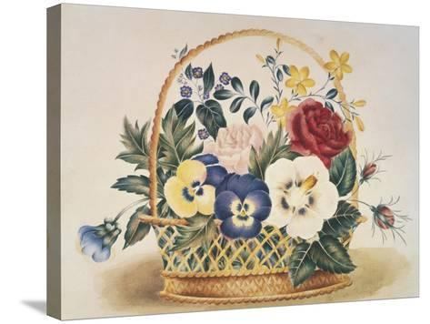 Pansies in a Basket--Stretched Canvas Print