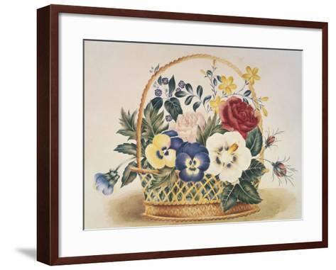 Pansies in a Basket--Framed Art Print