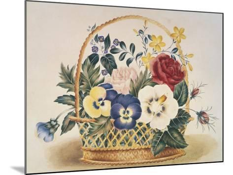 Pansies in a Basket--Mounted Giclee Print