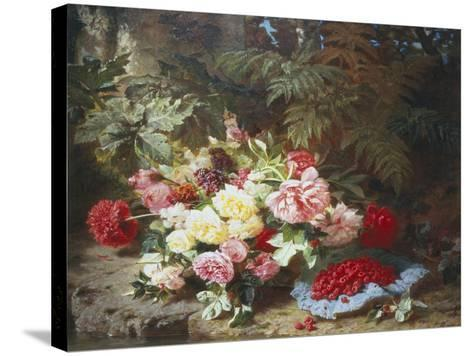 Still Life with Roses and Raspberries-Jean Baptiste Claude Robie-Stretched Canvas Print