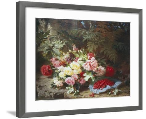 Still Life with Roses and Raspberries-Jean Baptiste Claude Robie-Framed Art Print