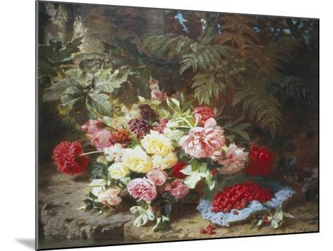 Still Life with Roses and Raspberries-Jean Baptiste Claude Robie-Mounted Giclee Print