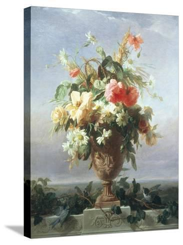 Elegant Vase of Flowers on a Ledge-Edouard Muller Rosenmuller-Stretched Canvas Print
