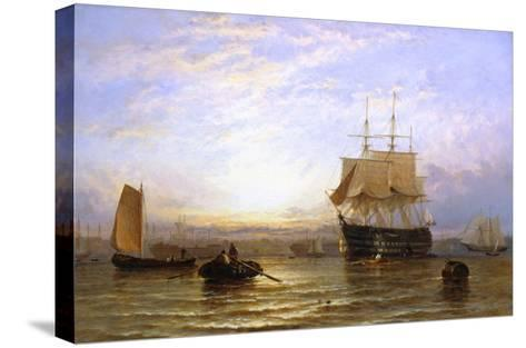 H.M.S. Wellington in Portsmouth Harbor-George Stainton-Stretched Canvas Print