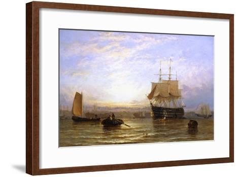 H.M.S. Wellington in Portsmouth Harbor-George Stainton-Framed Art Print