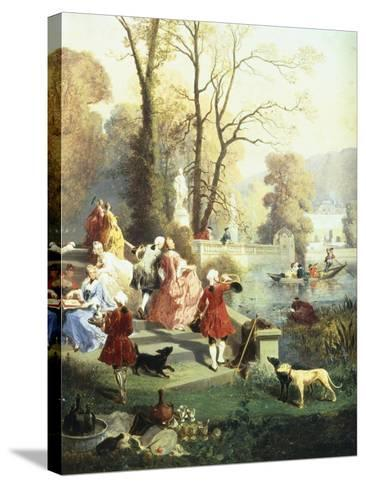 The Elegantes at Versailles-Jules Achille Noel-Stretched Canvas Print