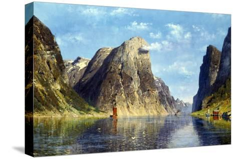 Calm Day on the Fjord, Norway-Adelsteen Normann-Stretched Canvas Print