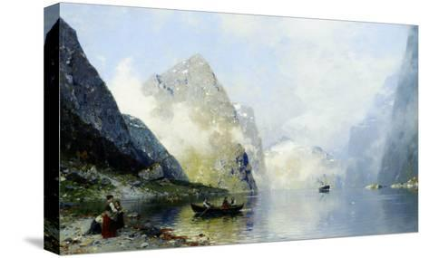 Beautiful Day on the Norwegian Fjord-George Rasmussen-Stretched Canvas Print