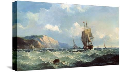 Shipping in a High Sea-John Henry Claude Wilson-Stretched Canvas Print
