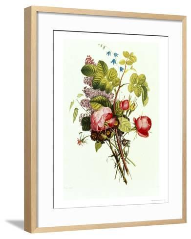 Bouquet of Rose, Lilac and Auricula-Jean Louis Prevost-Framed Art Print