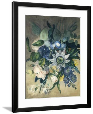 Study of Convulvulus, Passion Flower and Rose, c.1840--Framed Art Print